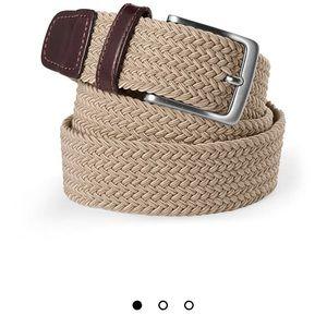 Lands End large Men's Elastic Braid Belt khaki
